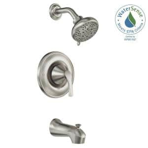 Darcy Single-Handle 5-Spray 1.75 GPM Tub and Shower Faucet in Spot Resist Brushed Nickel (Valve Included)