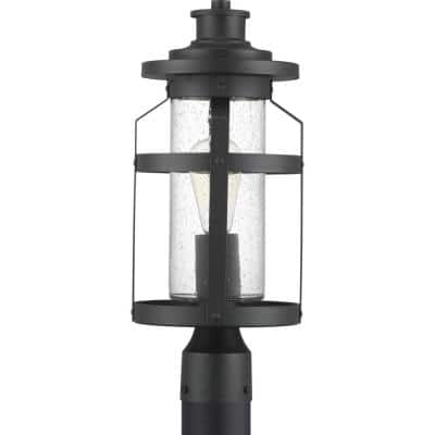 Haslett Collection 1-Light Textured Black Clear Seeded Glass Farmhouse Outdoor Post Lantern Light