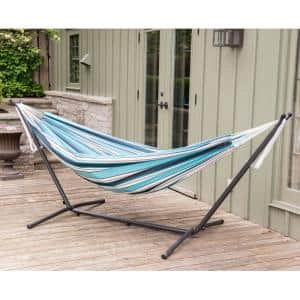 9 ft. Sunbrella Double Hammock with stand in Token Surfside