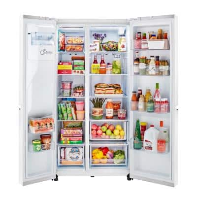 27 cu. ft. Side by Side Refrigerator with External Ice & Water Dispenser in Smooth White