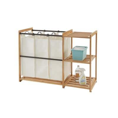 3-Bag Bamboo Laundry Station with Bronze Poles