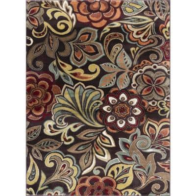 Floral Brown Area Rugs Rugs The Home Depot
