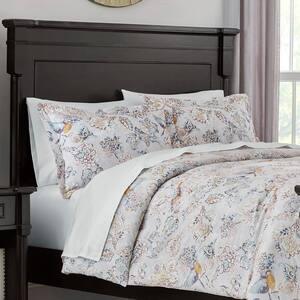 Lorna 3-Piece Watercolor Bird Floral King Comforter Set