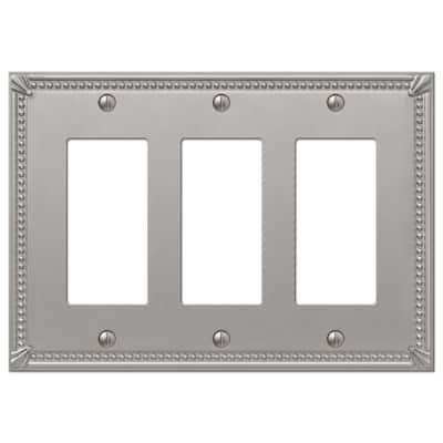 Imperial Bead 3 Gang Rocker Metal Wall Plate - Brushed Nickel