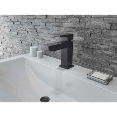 Mod Single Hole Single-Handle Bathroom Faucet in Matte Black with Drain Assembly
