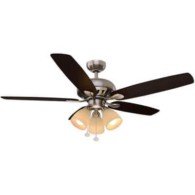 Rockport 52 in. LED Indoor Brushed Nickel Ceiling Fan with Light Kit