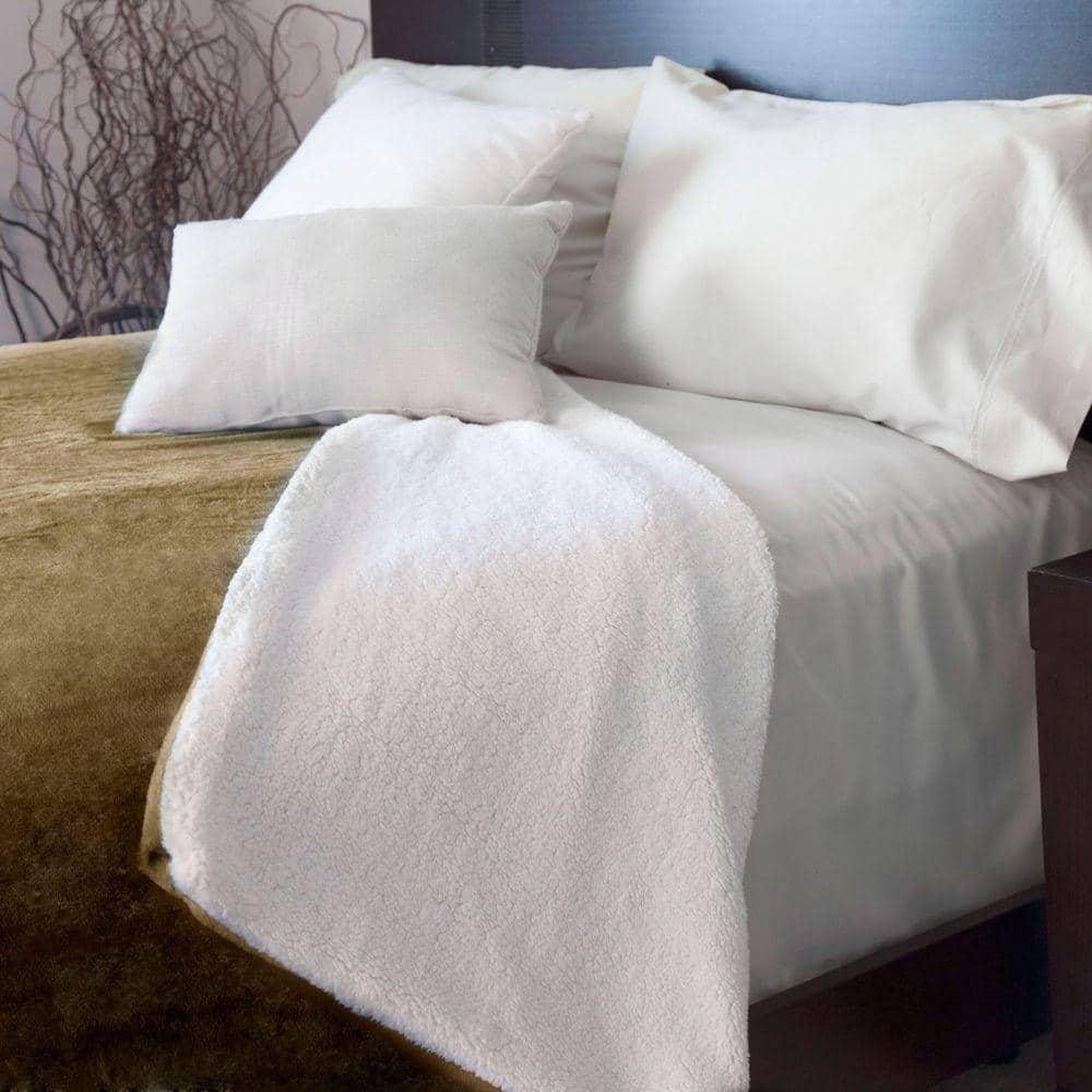 Lavish Home Brown Fleece/Sherpa Polyester Twin Blanket