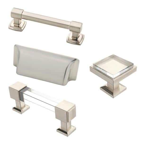 Liberty Classic Square 1 1 4 In 32 Mm Satin Nickel And Clear Glass With Mirror Backing Cabinet Knob P37709c 116 Cp The Home Depot