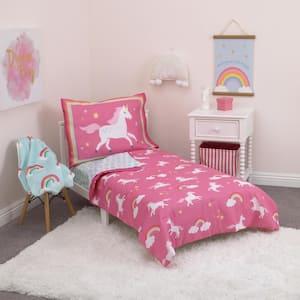 Rainbows & Unicorns 4-Piece Toddler Bedding Set