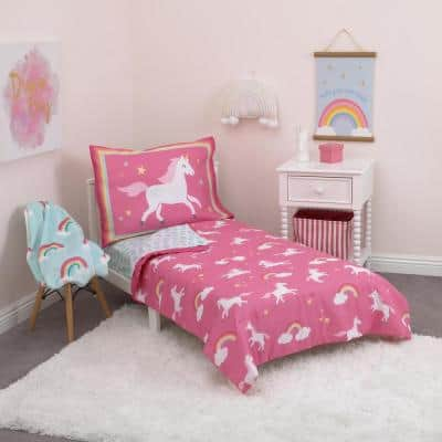 Rainbows & Unicorns 4-Piece Toddler Bedding Set