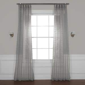 Strasbourg Dot Grey Polka Dot Rod Pocket Sheer Curtain - 50 in. W x 84 in. L