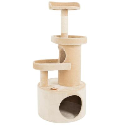 Tan 4 Tier Cat Tree Condo with Scratching Post
