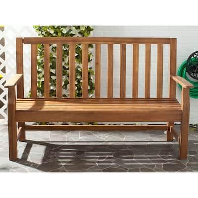Indaka 59.8 in. 2-Person Natural Brown Acacia Wood Outdoor Bench