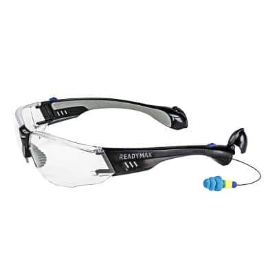 Construction Safety Glasses Black Frame Clear Lens with NRR 25 db Silicone PermaPlugs