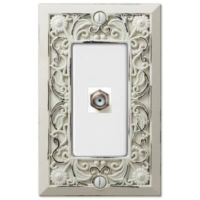 Filigree 1 Gang Coax Metal Wall Plate - White