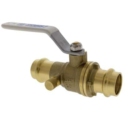 3/4 in. Brass Alloy Lead-Free Press Full Port Ball Valve with Drain