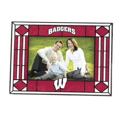 NCAA 4 in. x 6 in. Gloss Multicolor Art Glass Wisconsin Picture Frame
