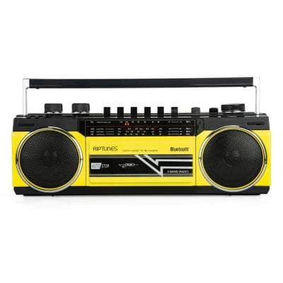 Retro Radio and Cassette Boombox with Bluetooth in Yellow