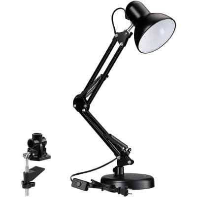 24 in. Black Architect Modern LED Lamp with Clamp on Base Accessory