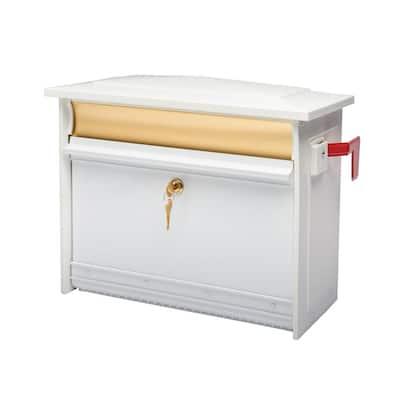 Mailsafe Medium, Aluminum, Locking, Wall-Mount Mailbox, White