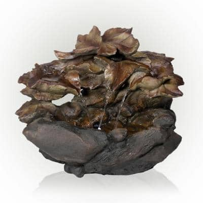 10 in. Tall Cascading Leaf and Stone Indoor Tabletop Waterfall Fountain with LED Lights