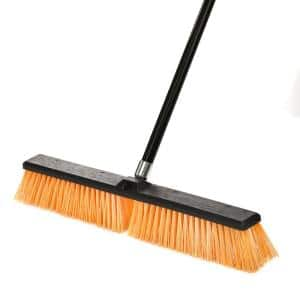 24 in. Yellow Indoor Outdoor Rough Surface Push Broom (3-Pack)