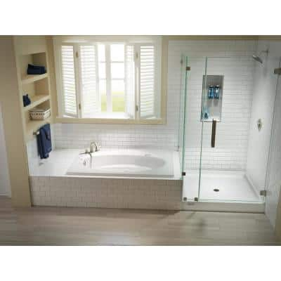 48 in. x 48 in. Center Drain 6 in. Shower Base in White