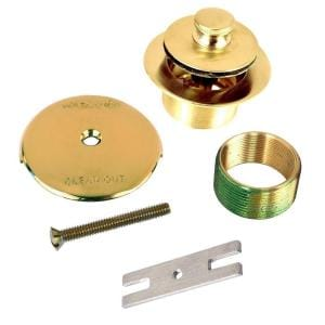 1.625 in. Overall Diameter x 16 Threads x 1.25 in. Lift and Turn Bathtub Stopper with Bushing Trim, Polished Brass