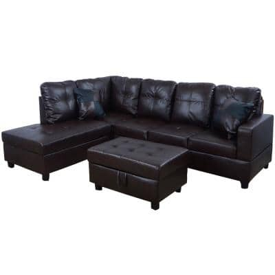 Brown Faux Leather 3-Seater Right-Facing Chaise Sectional Sofa with Ottoman