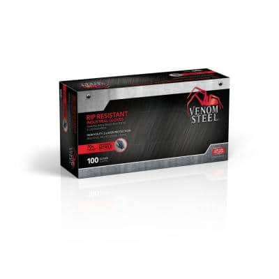 Heavy Duty Black Nitrile Gloves, One Size Fits Most (100 per Box)