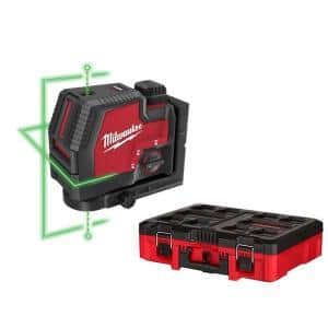 Green 100 ft. Cross Line & Plumb Points Rechargeable Laser Level w/ Lithium-Ion USB Battery, Charger & PACKOUT Tool Box