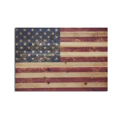 USA Flag Planked Wood Americana Travel Art Print 18 in. x 26 in.
