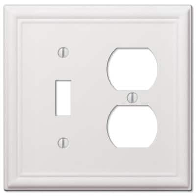 Ascher 2 Gang 1-Toggle and 1-Duplex Steel Wall Plate - White