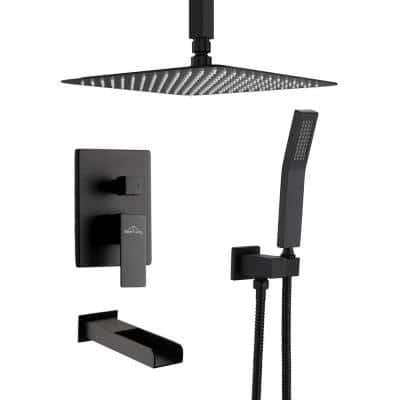Ceiling Mount Single-Handle 1-Spray Tub and Shower Faucet in Matte Black - 12 Inch (Valve Included)
