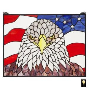 American Patriot's Bald Eagle Stained Glass Window Panel