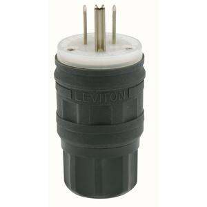 15 Amp 125-Volt Wetguard Straight Blade Grounding Plug, Black/White