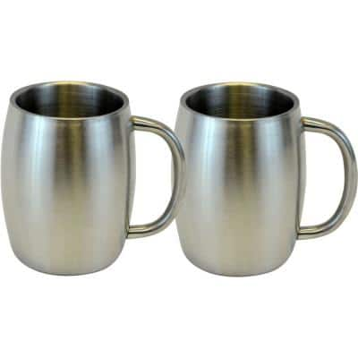14 oz. Stainless Smooth Double Wall Steel Beer/Coffee/Desk Mug (Set of 2)