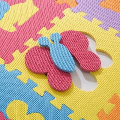Multi-Colored 12.5 in. x 12.5 in. x 0.25 in. Interlocking EVA Foam Animal Puzzle Floor Tile (16-Pack)