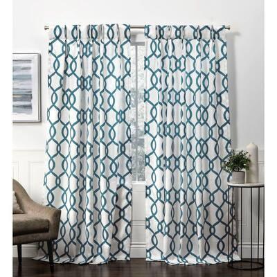 Kochi Teal Room Darkening Triple Pinch Pleat Top Curtain Panel - 27 in. W x 84 in. L (2-Panel)