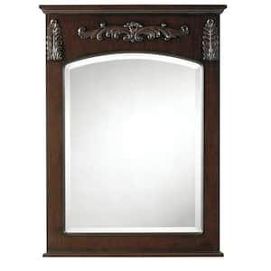 26 in. W x 35 in. H Framed Rectangular  Bathroom Vanity Mirror in Antique Cherry