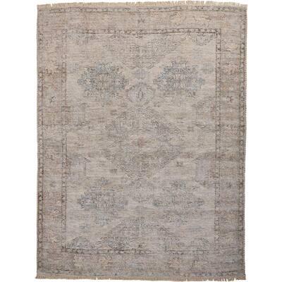 Ramey Latte Tan/Gray 10 ft. x 14 ft. Oriental Wool Area Rug