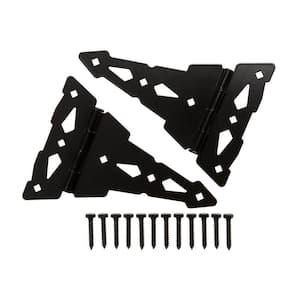 10 in. Black Heavy-Duty Decorative Tee Hinge (2-Pack)