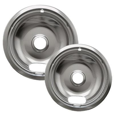 Style A 6 in. Small and 8 in. Large Drip Pan in Chrome (2-Pack)
