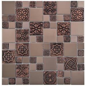 Meta Versailles Copper 11-3/4 in. x 11-3/4 in. Stainless Steel Metal Over Ceramic Mosaic Tile (0.96 sq. ft./Each)
