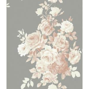 Tea Rose Spray and Stick Wallpaper (Covers 56 sq. ft.)