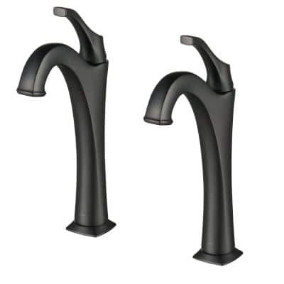 Arlo Single Hole Single-Handle Vessel Bathroom Faucet with Pop Up Drain in Matte Black (2-Pack)