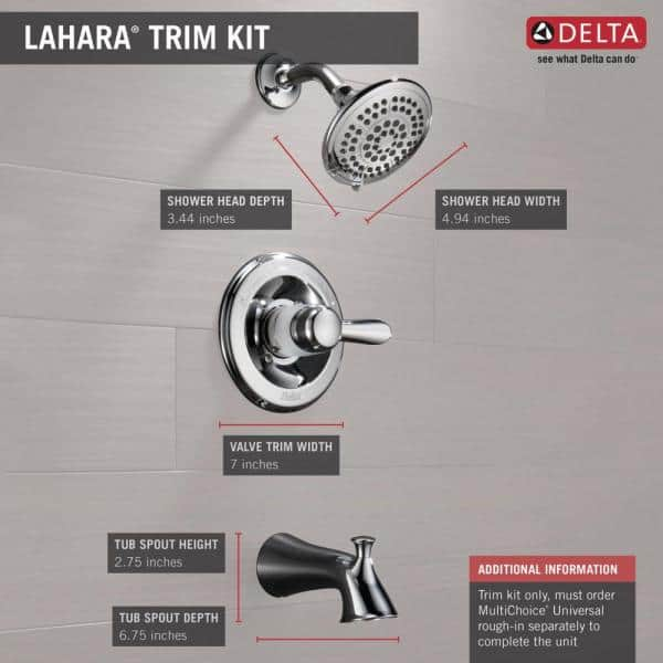 Delta Lahara 1 Handle Tub And Shower Faucet Trim Kit Only In Chrome Valve Not Included T14438 The Home Depot