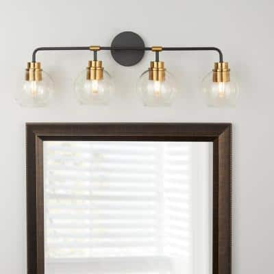 Lawrence 4-Light Aged Bronze and Brass Vanity Light