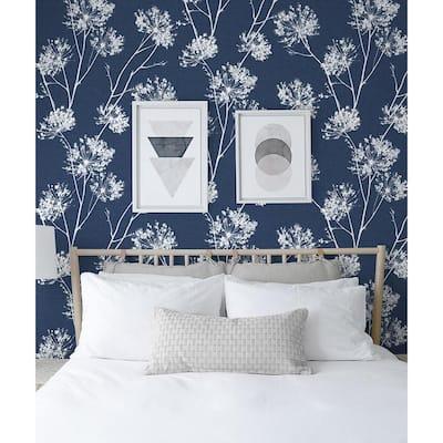 One O'Clock Denim Blue Floral Vinyl Peel & Stick Wallpaper Roll (Covers 30.75 Sq. Ft.)