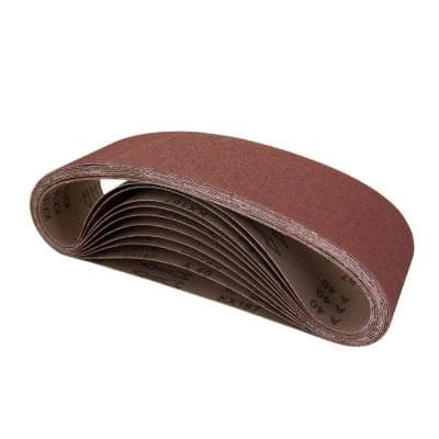 4 in. x 36 in. 240-Grit Aluminum Oxide Sanding Belt (10-Pack)